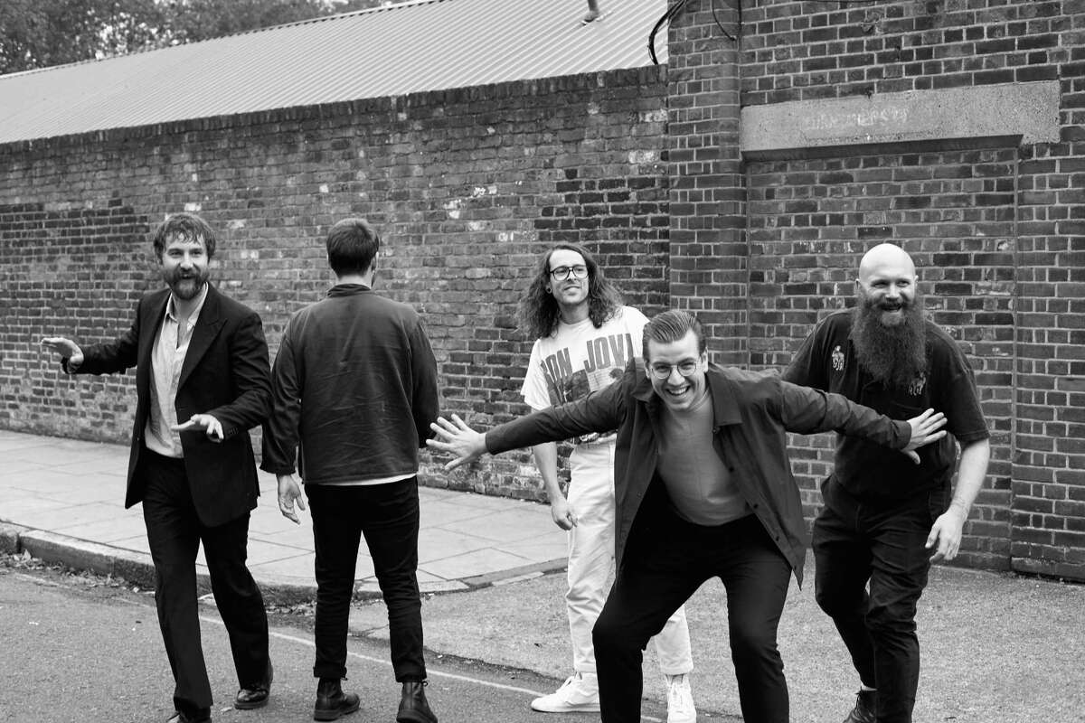 Members of the British band Idles, from left: Mark Bowen, Joe Talbot, Lee Kiernan, Jon Beavis and Adam Devonshire, in London, Aug. 29, 2020. The British band known for blending politics with personal passion is releasing a new album, a€œUltra Mono,a€ that takes aim at faux patriotism, class inequality and sexism. (Suzie Howell/The New York Times)