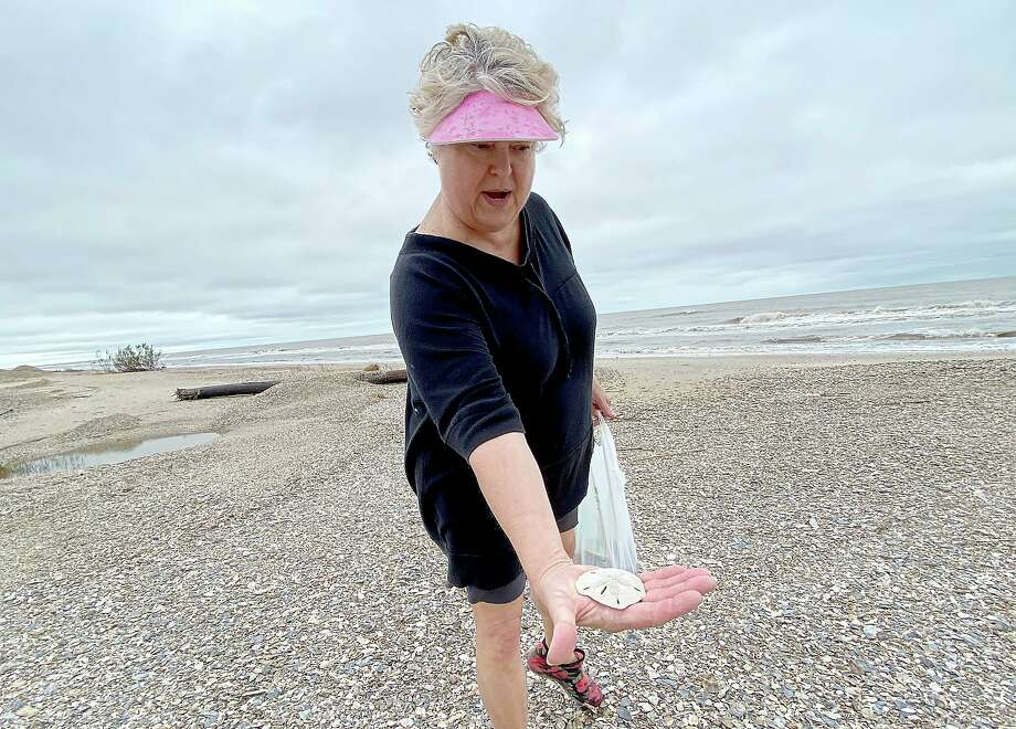 """Patti Castille shows the first sand dollar she has ever found as she searches for treasures washed up in the wake of high tides and churning Gulf waters on the Bolivar Peninsula Wednesday.  Castille has been a resident of the peninsula for 10 years and says her family stayed put this week as Tropical Depressionn made its way up the coast.  """"The weather wasn't bad enough to leave,"""" she says, nnoting that ultimately, """"it wasn't as bad as expected. We never lost electricity at all.""""  Texas 87 was closed, however, as crrews cleared washed away dunes and debris from the road, which was reopened by Wednesday morning. Roadways on the bay side of the peninsula, however, remained flooded Wednesday.  Photo taken Wednesday, September 23, 2020 Kim Brent/The Enterprise Photo: Kim Brent / Kim Brent/The Enterprise / BEN"""