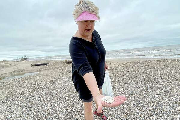 """Patti Castille shows the first sand dollar she has ever found as she searches for treasures washed up in the wake of high tides and churning Gulf waters on the Bolivar Peninsula Wednesday. Castille has been a resident of the peninsula for 10 years and says her family stayed put this week as Tropical Depressionn made its way up the coast. """"The weather wasn't bad enough to leave,"""" she says, nnoting that ultimately, """"it wasn't as bad as expected. We never lost electricity at all."""" Texas 87 was closed, however, as crrews cleared washed away dunes and debris from the road, which was reopened by Wednesday morning. Roadways on the bay side of the peninsula, however, remained flooded Wednesday. Photo taken Wednesday, September 23, 2020 Kim Brent/The Enterprise"""