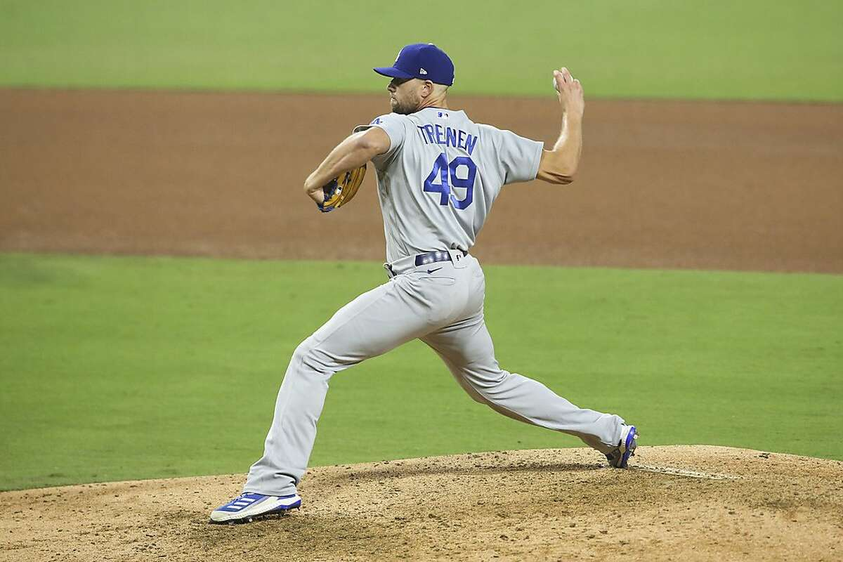Los Angeles Dodgers relief pitcher Blake Treinen delivers a pitch agains the San Diego Padres in a baseball game Tuesday, Sept. 15, 2020, in San Diego. (AP Photo/Derrick Tuskan)