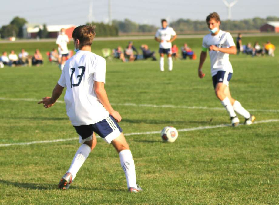 The Bad Axe boys soccer team took a step toward winning its second straight district title after beating the host Ithaca Yellowjackets 8-0 on Monday afternoon in the District 61 opener. Photo: Mark Birdsall/Huron Daily Tribune