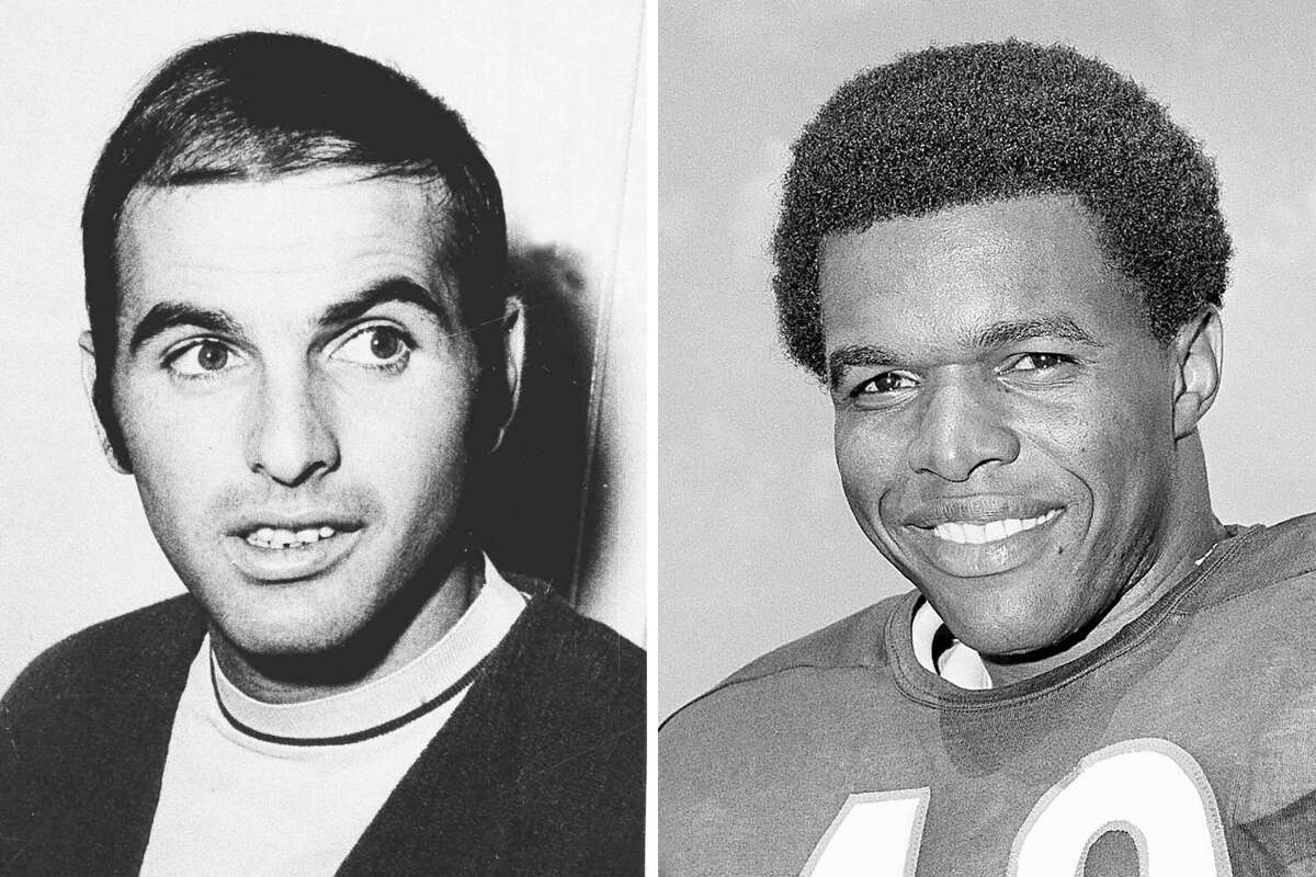 FILE - From left are 1970 file photos showing Brian Piccolo and Gale Sayers. Hall of Famer Gale Sayers, who made his mark as one of the NFLa€™s best all-purpose running backs and was later celebrated for his enduring friendship with Chicago Bears teammate Brian Piccolo, has died. He was 77. Nicknamed a€œThe Kansas Cometa€ and considered among the best open-field runners the game has ever seen, Sayers died Wednesday, Sept. 23, 2020, according to the Pro Football Hall of Fame. (AP Photo/File)