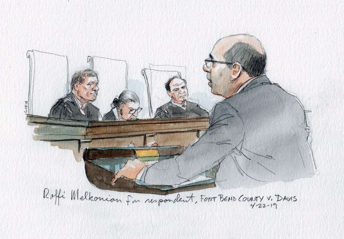 A courtroom sketch of oral argument by Houston appellate attorney Raffi Melkonian before the U.S. Supreme Court on April 22, 2019. He represented a Fort Bend employee who prevailed in her case that she was wrongfully terminated for religious reasons.