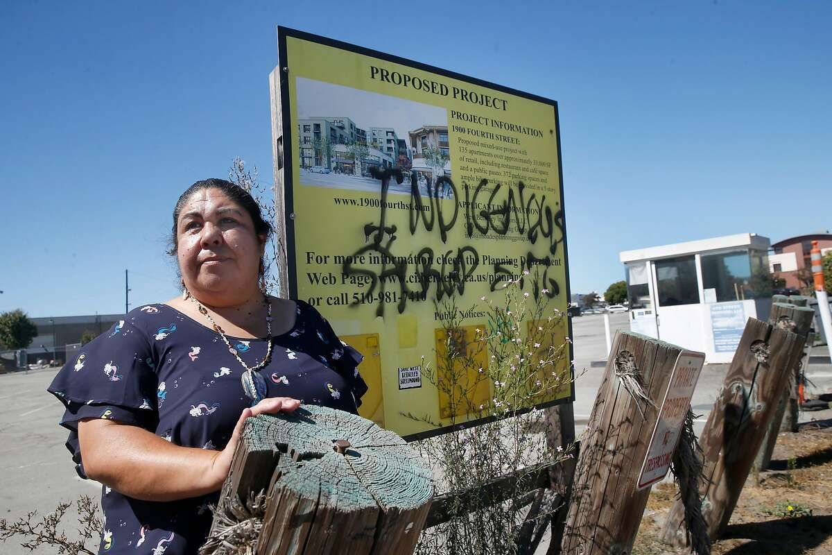 Corrina Gould of the Confederated Villages of Lisjan/Ohlone, visits a parking lot at Fourth Street and Hearst Avenue in Berkeley, a site the tribe views as sacred.