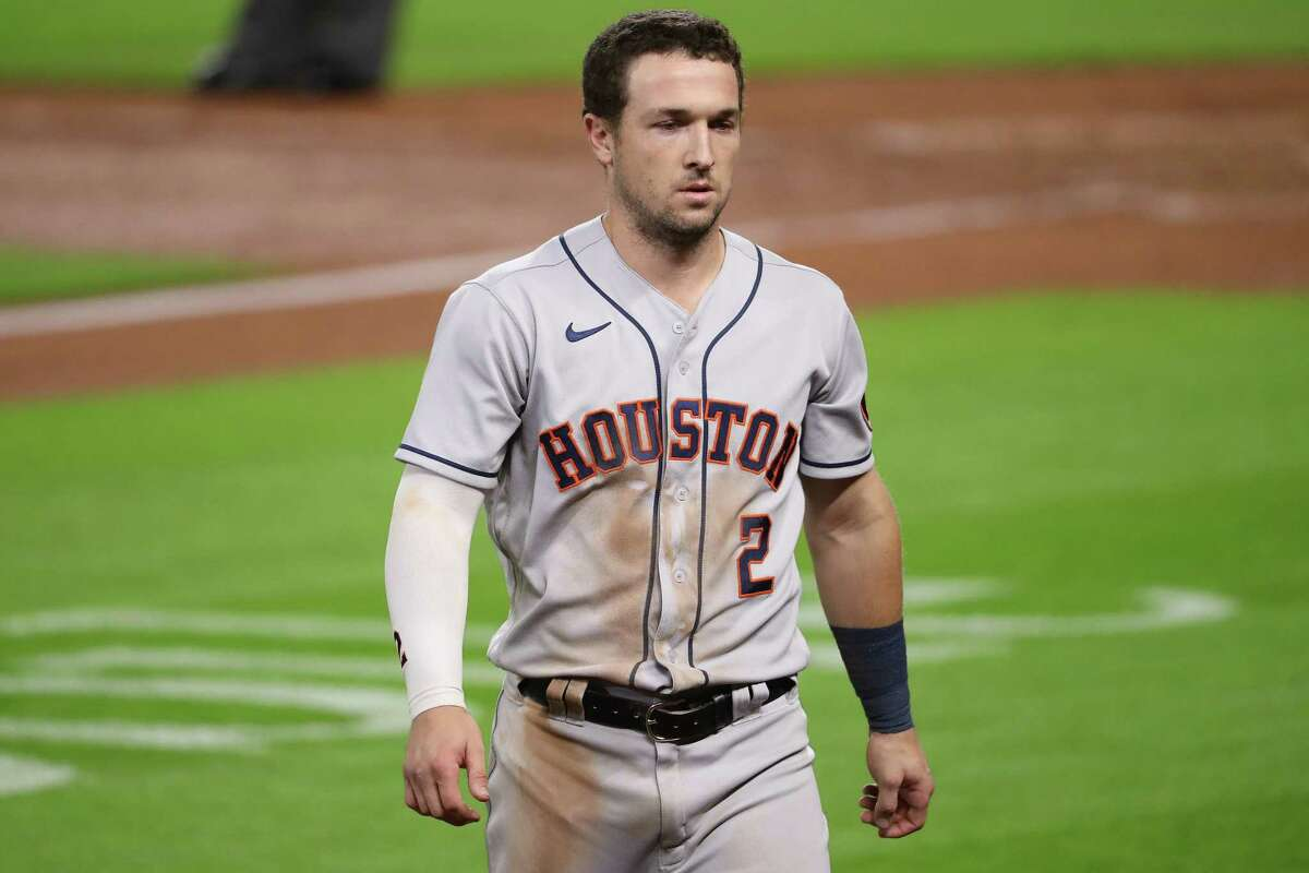 SEATTLE, WASHINGTON - SEPTEMBER 23: Alex Bregman #2 of the Houston Astros reacts after striking out while looking to end the eighth inning against the Seattle Mariners at T-Mobile Park on September 23, 2020 in Seattle, Washington.