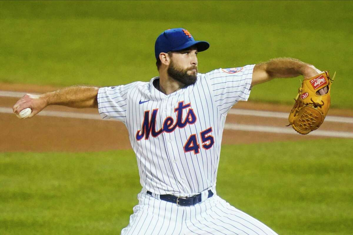 New York Mets' Michael Wacha delivers a pitch during the first inning of a baseball game against the Tampa Bay Rays Wednesday, Sept. 23, 2020, in New York. (AP Photo/Frank Franklin II)