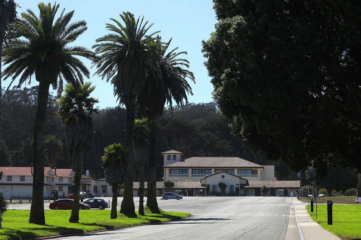 The Presidio Officers' Club with its red tile roof has a Spanish Revival look from the 1930s.