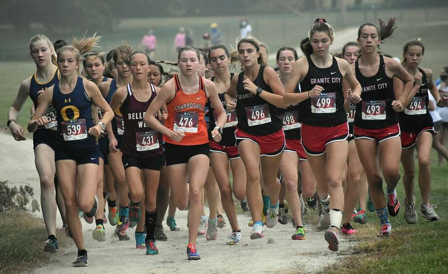 Edwardsville sophomore Riley Knoyle is out in front of the pack at the Belleville West Invitational. Photo: Matt Kamp|The Intelligencer