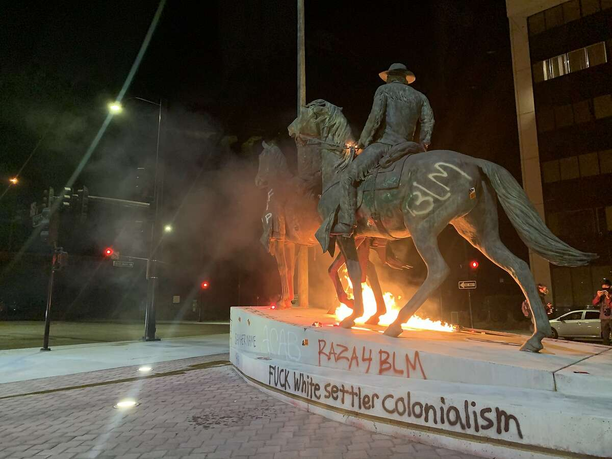 A bronze statue in San Jose commemorating Thomas Fallon should be removed because it celebrates oppression, violence, justice and genocide, dozens of people argued in a virtual public forum Friday night.