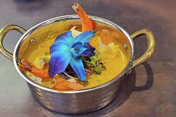 The recently opened Curry & Hurry restaurant at 1340 East Putnam Ave. in Greenwich offers nearly 40 entrees including shrimp mango curry. Manyof the dishes that are favored with a combination of spices or herbs, usually including ground turmeric, cumin, coriander, ginger, and fresh or dried chilies.