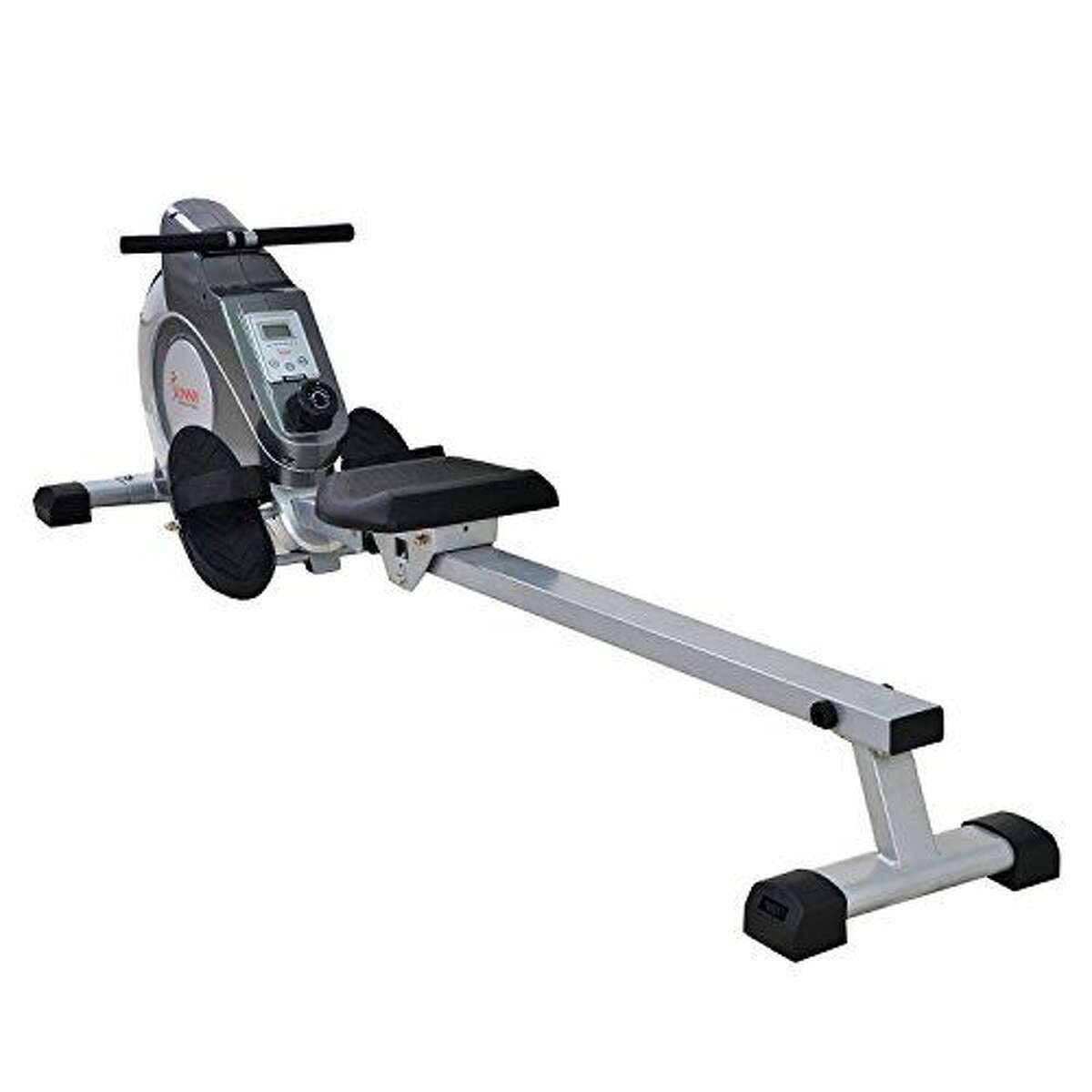 2) Magnetic Rowing Machine with LCD Monitor: $207.00 SHOP NOW 4.4 out of 5 stars4,500+ Amazon customer reviews OK, so you're just not sold on a four-figure machine. You won't get the personalized training built into fancier options, but this model has all the essentials needed for a powerful at-home rowing workout. Because it uses a magnetic tension system (featuring eight levels of resistance), this rowing machine is nice 'n' quiet. It also comes with a large LCD console that displays your meters rowed, calorie count, and time. And the fully padded seat, no-slip foot pedals, and handlebars make it comfortable to row so you can go the distance.