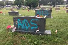 Fifteen headstones were vandalized with blue spray paint at a historically Black cemetery in Austin sometime over the weekend. This photo, posted to Twitter by CBS Austin's Jordan Bontke, was captioned, in part, 15 headstones at the Evergreen cemetery were vandalized. PARD believes it happened sometime over the weekend.