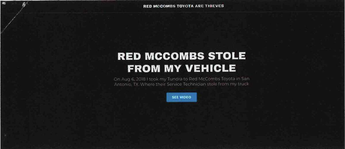 Red McCombs Toyota sued Brandon Hjella for defamation in 2018 over the website he created called redmccombs-toyota.com, where he alleged a dealership mechanic stole a gun from his Tundra pickup truck when he brought it in for maintenance. The screen shot of the website was included in a court filing as part of the litigation.