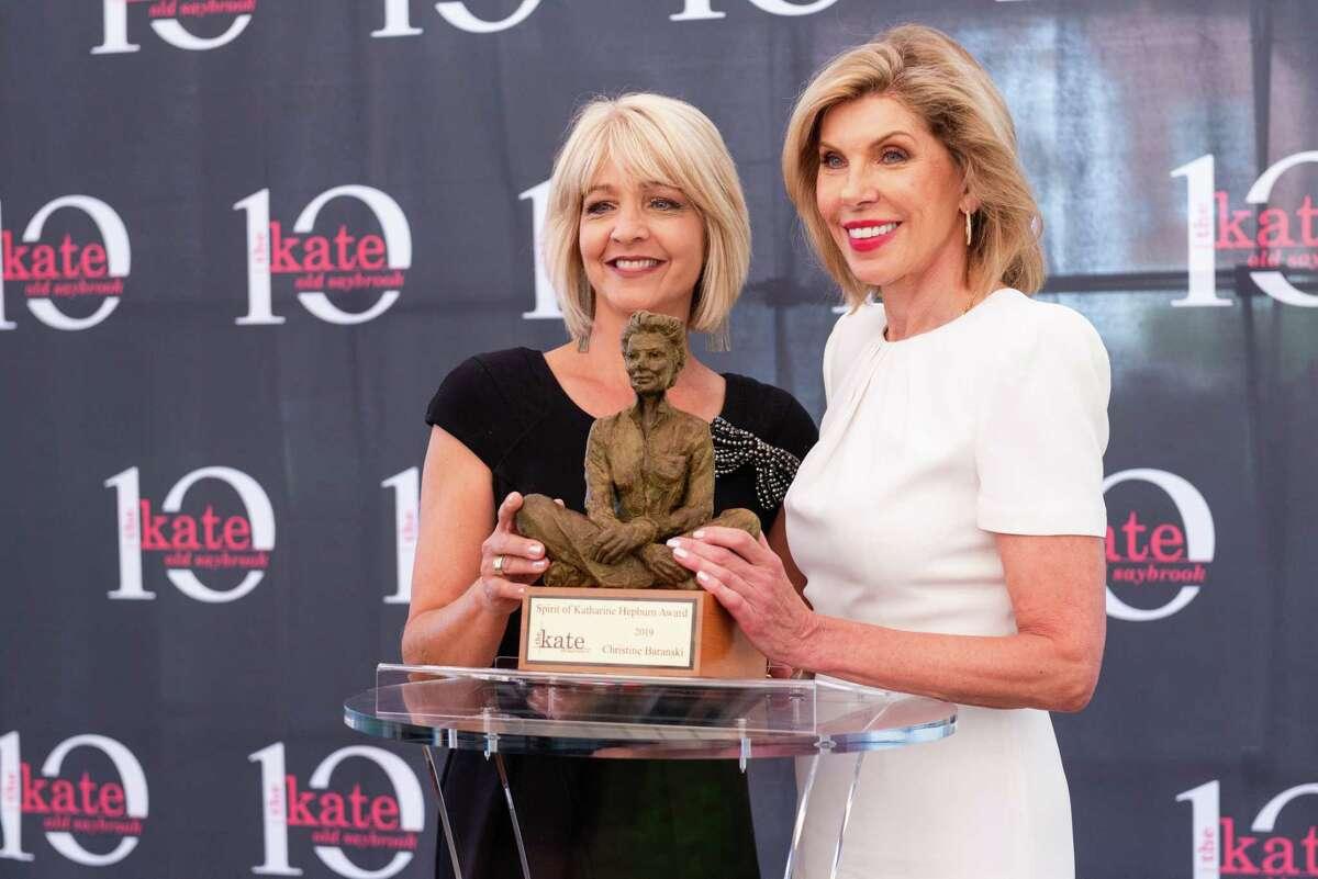 Ann Nyberg of WTNH with previous Spirit of Katharine Hepburn Award winner Christine Baranski.