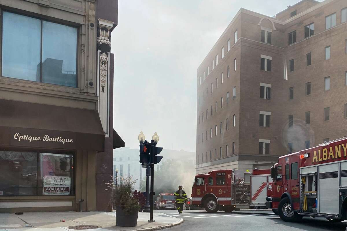 Fire crews and National Grid employees are responding to an underground fire with multiple manholes being blown off on Broadway near Pine Street on Sept. 24, 2020.