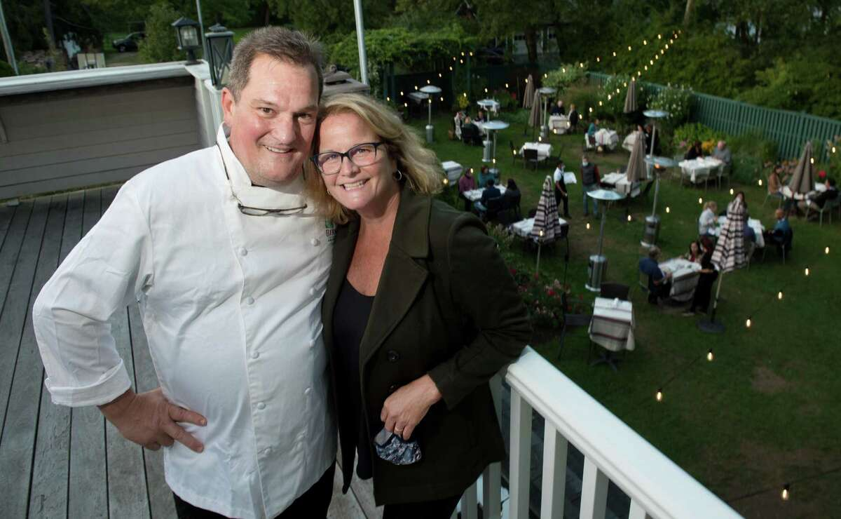 Bernard and Sarah Bouissou have operated Bernard's in Ridgefield for 20 years. These days, much of the dining is in the enclosed garden behind the restaurant.