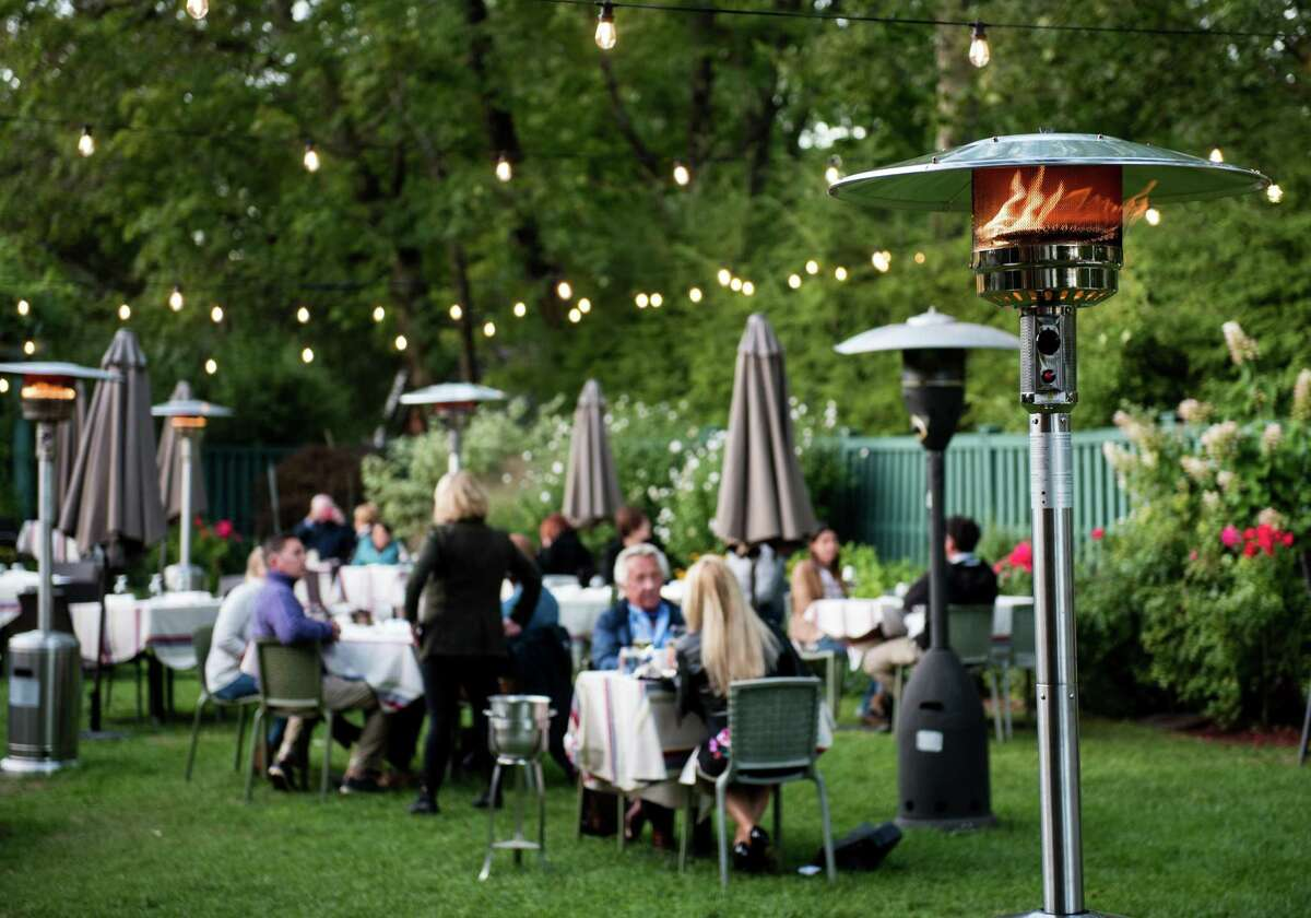 Outdoor dining in the garden behind Bernard's lets customers feel comfortable, said owner Sarah Bouissou.