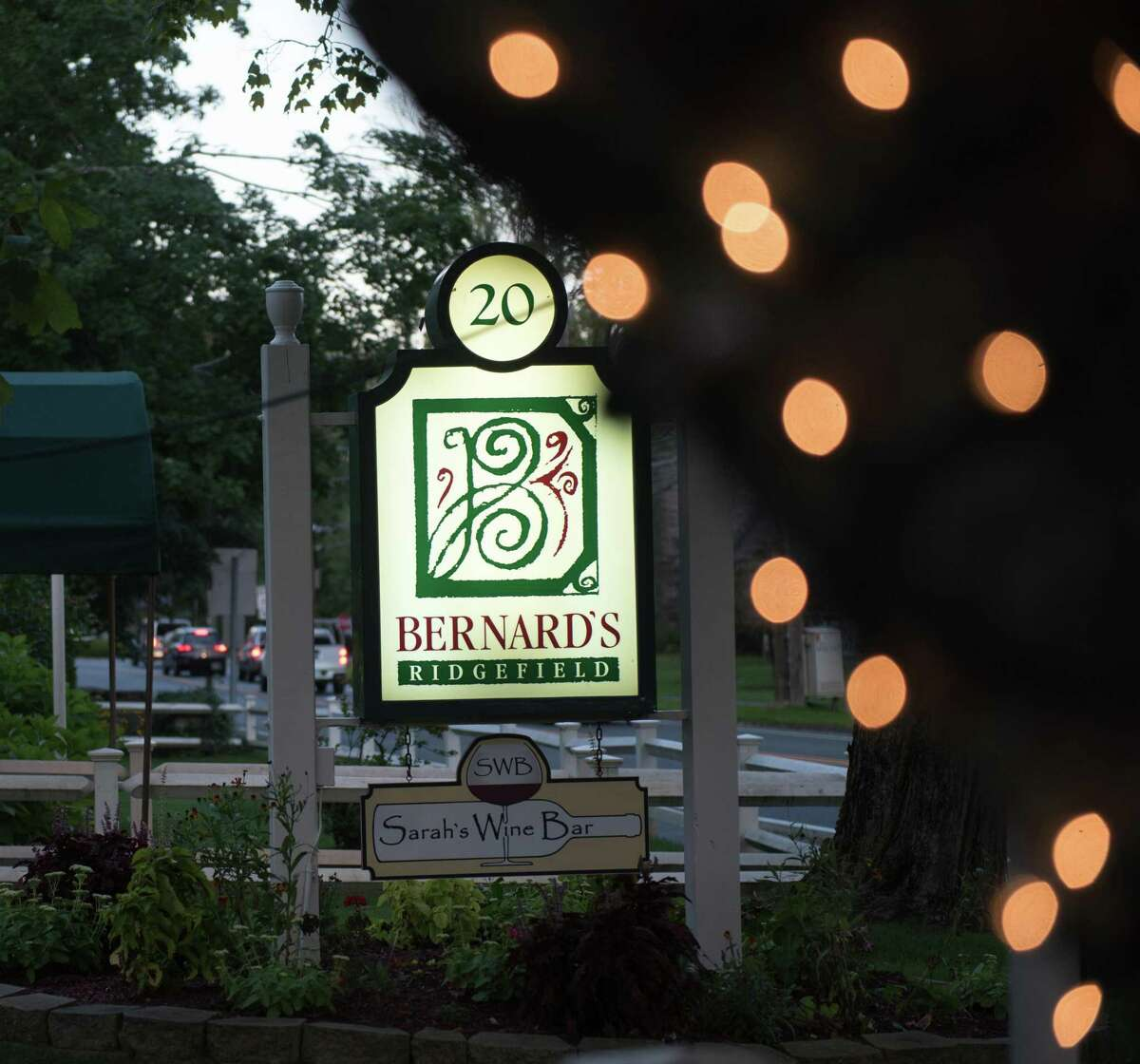 Bernard's and Sarah's Wine Bar are at 20 West Lane in Ridgefield. The cars visible behind are at the intersection of West Lane and Main Street, by the town's well known fountain.