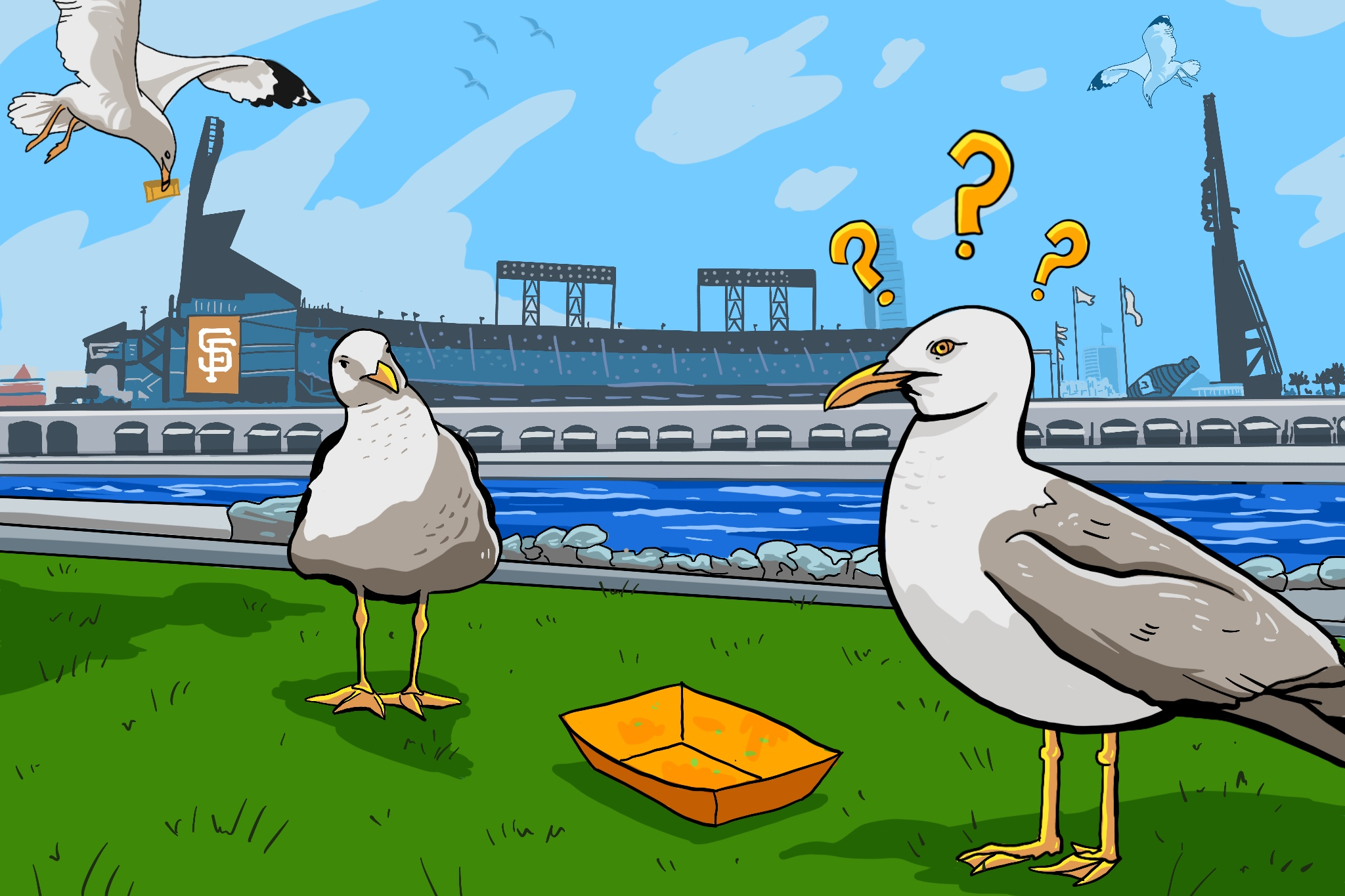 What's a seagull to do without Oracle Park garlic fries?