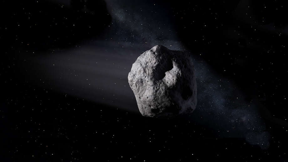 This illustration shows a near-Earth asteroid like asteroid 2020 SW traveling through space. Image credit: NASA/JPL-Caltech Photo: NASA/JPL-Caltech