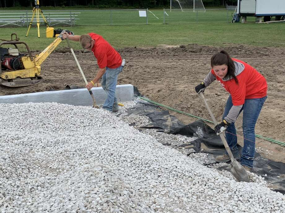 Excavation works continues Sept. 2, 2020 in preparation for the installation of Dow High's new turf field. Photo: Daily News File Photo