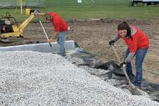 Excavation works continues Sept. 2, 2020 in preparation for the installation of Dow High's new turf field.