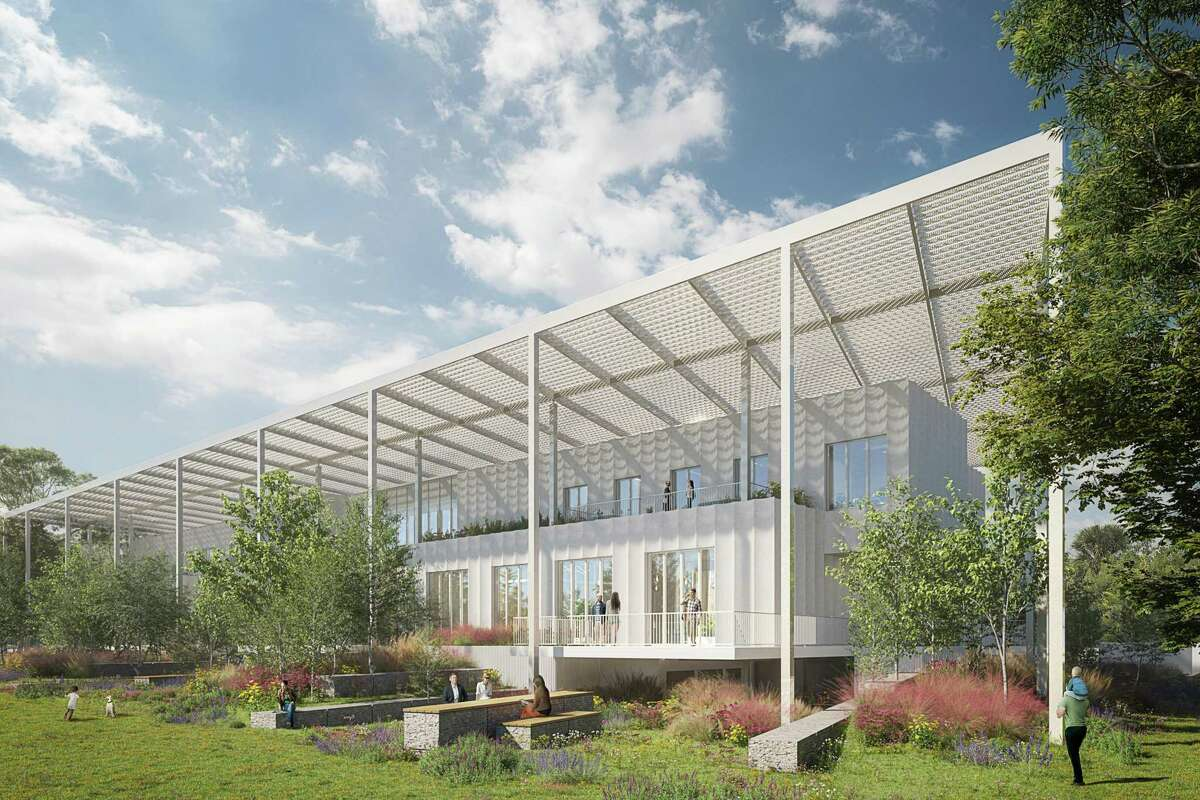 An artist rendering of the new building under way for Houston Endowment.