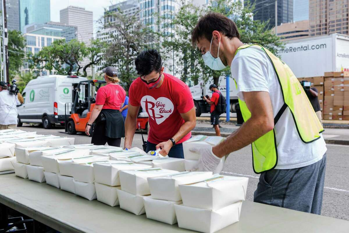 On Sept. 3, Second Servings of Houston partnered with the Houston Rockets to distribute 3,500 family-size dinner boxes (equivalent to 28,000 meals) and other foods at Toyota Center.