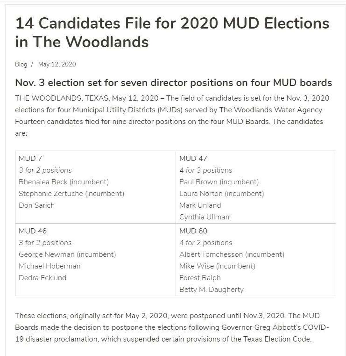 Candidates for four local municipal utility districts will be on the Nov. 3 ballot in a rare occurrence in Texas elections. Normally, MUD elections are hosted in May each year however complications from the COVID-19 pandemic forced the state to delay those elections until November.