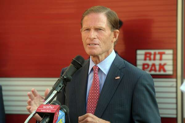 U.S. Sen. Richard Blumenthal speaks during the 9/11 remembrance ceremony at Fire Headquarters, in Bridgeport, Conn. Sept. 11, 2020.