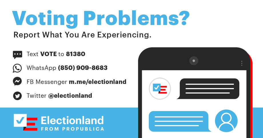Electionland, is an attempt to make it as easy as possible for you to tell us about any voting issues you may have. It also helps us put it all into context, considering similar polling problems all across the United States. Photo: Electionland