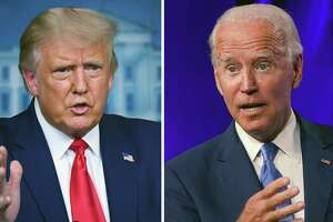 Left: President Donald Trump speaks to reporters during a press briefing at the White House on Sept. 16, 2020. Right: Joe Biden, the Democratic presidential nominee, speaks at a news conference in Wilmington, Del., on Sept. 2, 2020.