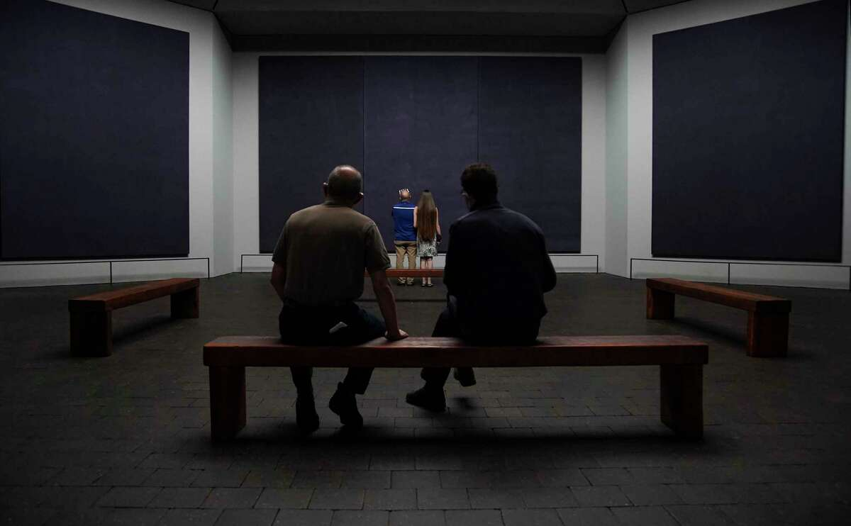 Visitors inside the Rothko Chapel in Houston on the first day of being reopened after renovations on Thursday, Sept. 24, 2020.