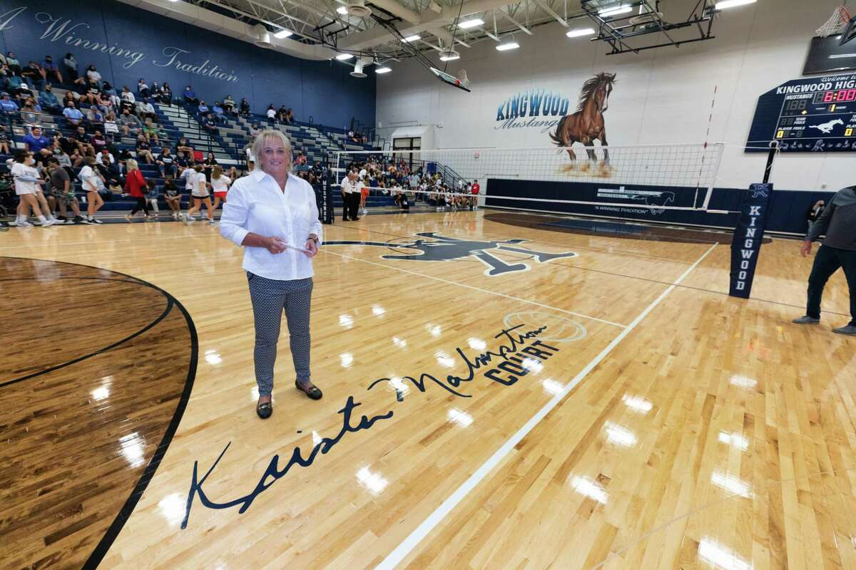 Former Kingwood volleyball coach Krista Malmstrom was honored Wednesday night for her years of service in athletics for Humble ISD. Kingwood named their court after her.