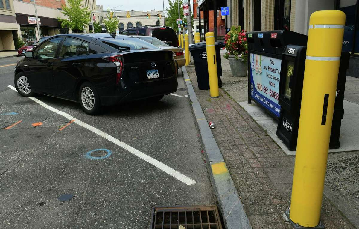 The back-in, angled parking on Wall Street in Norwalk, unveiled last year, on Thursday.
