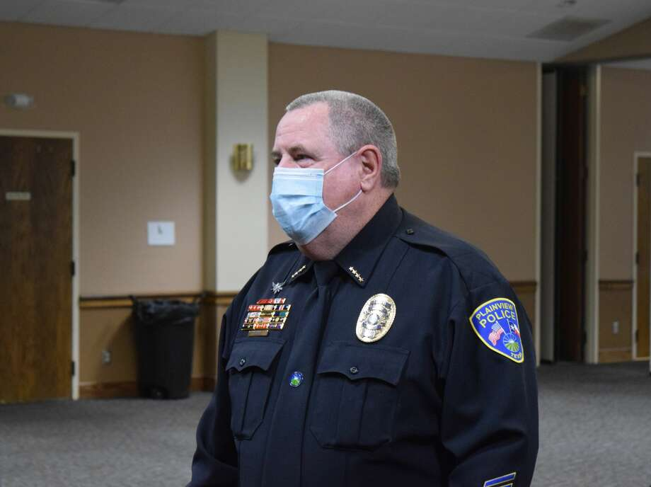 Community members followed by the Plainview City Council gave outgoing Plainview Police Chief Ken Coughlin a special sendoff this week. Photo: Ellysa Harris/Plainview Herald