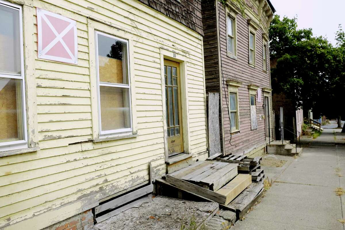 A view of abandoned homes on Alexander Street on Thursday, Sept. 24, 2020, in Albany, N.Y. (Paul Buckowski/Times Union)