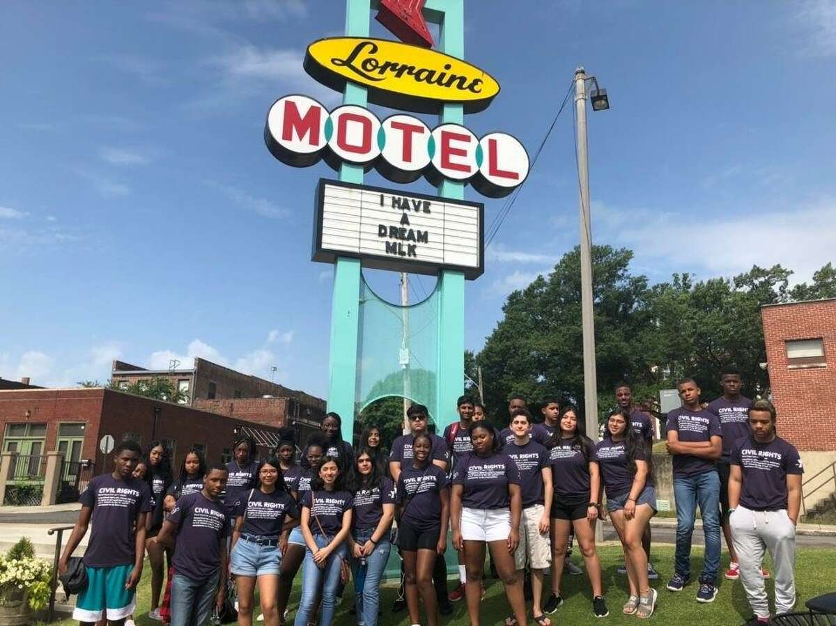 In 2019, students visit the National Civil Rights Museum at the Lorraine Motel in Memphis, Tennessee, as a part of a YMCA of Greater Houston Freedom Tour.