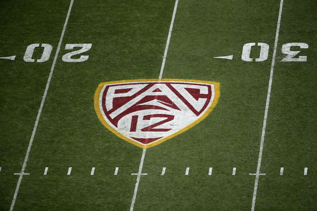 Pac-12 logo on the field during the NCAAF game at Sun Devil Stadium on November 9, 2019, in Tempe, Arizona.