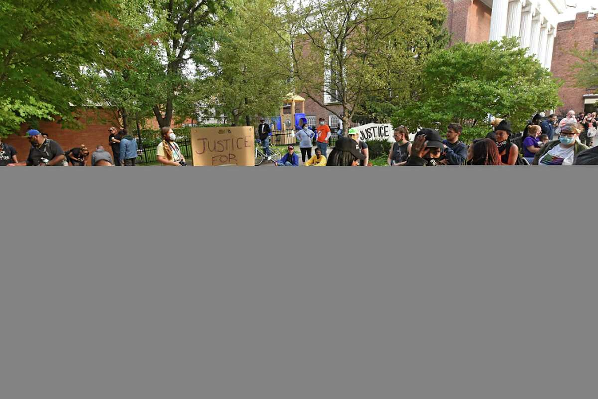 Justice for Edson Thevenin protestors who are upset about the acquittal of Former Rensselaer County District Attorney Joel Abelove gather in Barker Park on Thursday, Sept. 24, 2020 in Troy, N.Y. This year, Edson Thevenin, who was killed by Troy Police Officer Sgt French in 2016, would have been 42 years old. (Lori Van Buren/Times Union)