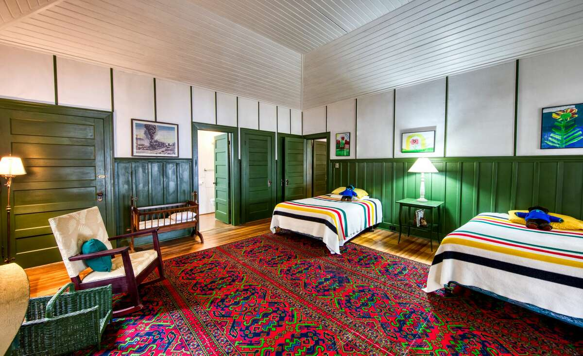 A sleeping cabin at Camp Iroquois, established in 1906 and is made up of a series of sleeping cabins and a dining cabin. It has 510 feet of lakefront on Upper Saranac Lake.