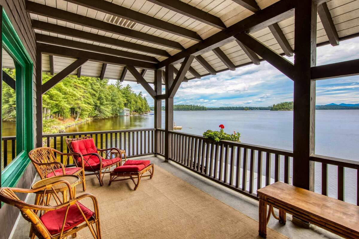 Balcony at the boathouse at Camp Iroquois.