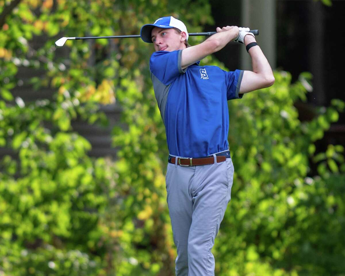 Will Braxton, of the Saratoga High golf team, hits a tee shot during a Suburban Council match against Troy High at MacGregor Links Country Club in Saratoga, NY, on Thursday, Sept. 24, 2020 (Jim Franco/special to the Times Union.)