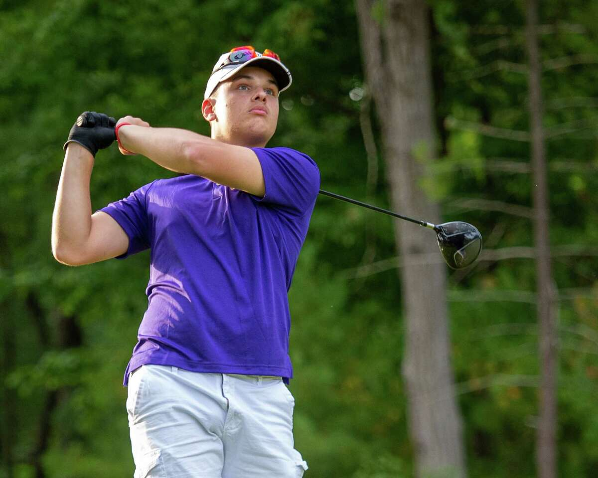 Eric Balogh, of the Troy High golf team, hits a tee shot during a Suburban Council match against Saratoga High at McGregor Links Country Club in Saratoga, N.Y., on Thursday, Sept. 24, 2020 (Jim Franco/Special to the Times Union.)