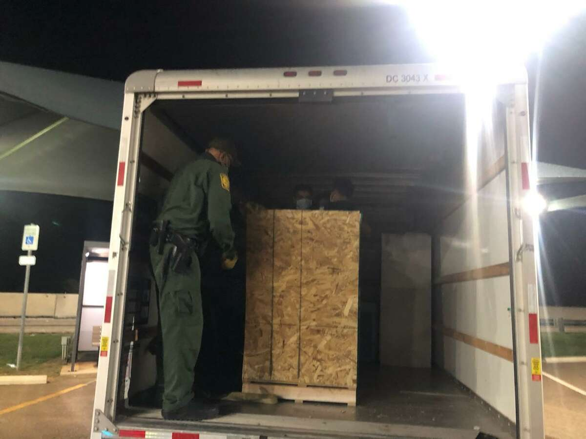 U.S. Border Patrol agents said they found five people enclosed in the crate shown in this photo. The individuals were immigrants who had crossed the border illegally.