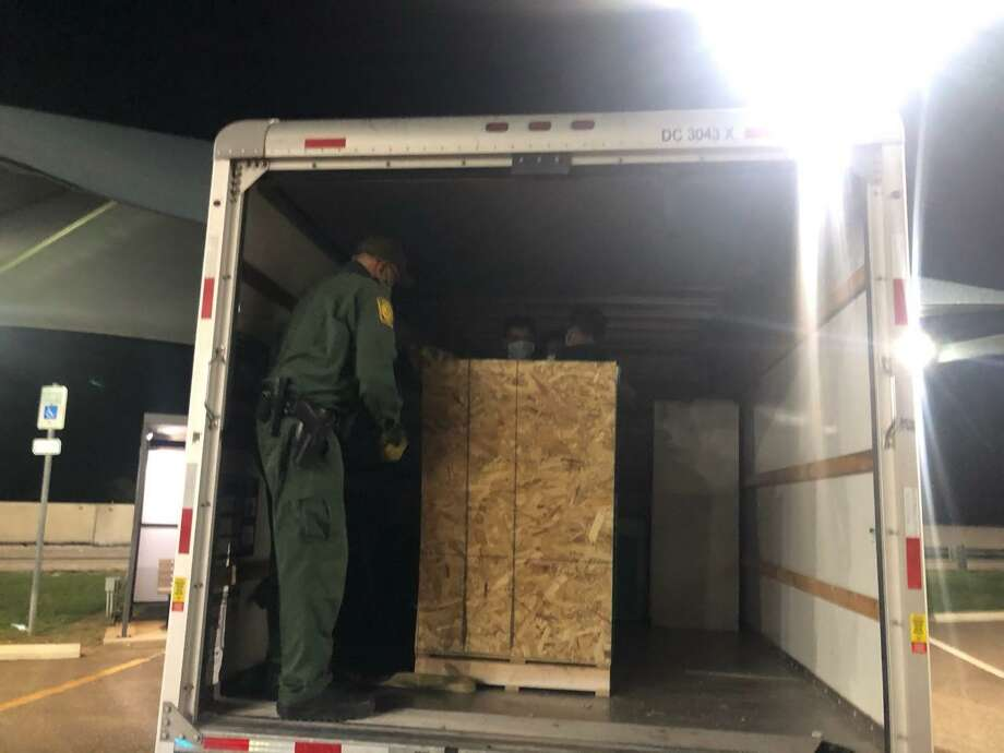 U.S. Border Patrol agents said they found five people enclosed in the crate shown in this photo. The individuals were immigrants who had crossed the border illegally. Photo: Courtesy Photo /U.S. Border Patrol