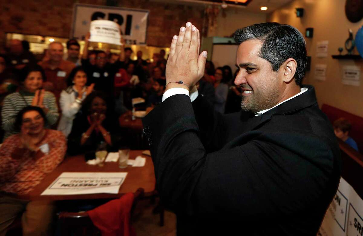 """Sri Kulkarni, Democratic nominee in the House District 22 race, greets supporters with a """"namaste"""" at his watch party at Turquoise Grill & Bar in Sugar Land on Tuesday, March 3, 2020."""