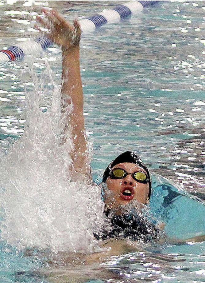 Edwardsville's Phoebe Gremaud was a double winner in Thursday night's EHS victory over Collinsville and Belleville Althoff at the Chuck Fruit Aquatic Center. Gremaud won the 200-yard individual medley and the 500 freestyle.