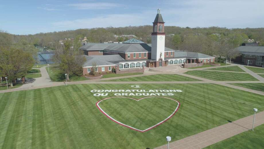 A message to the graduation class at Quinnipiac University painted on the grounds of the Mount Carmel Campus in Hamden Photo: Quinnipiac University / Contributed Photo