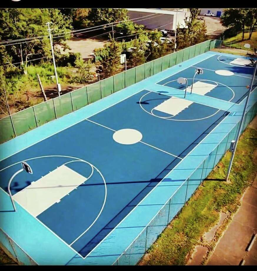 The newly refurbished basketball courts in Veterans Memorial Park on Bull Hill Lane. Photo: Contributed